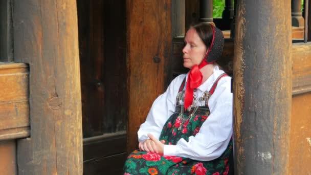 Žena v tradičním scandiavian oblečení