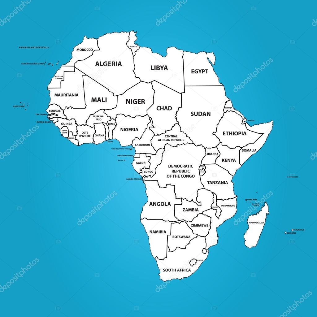 Africa (Map with The Frontiers and Country Names) — Stock Vector