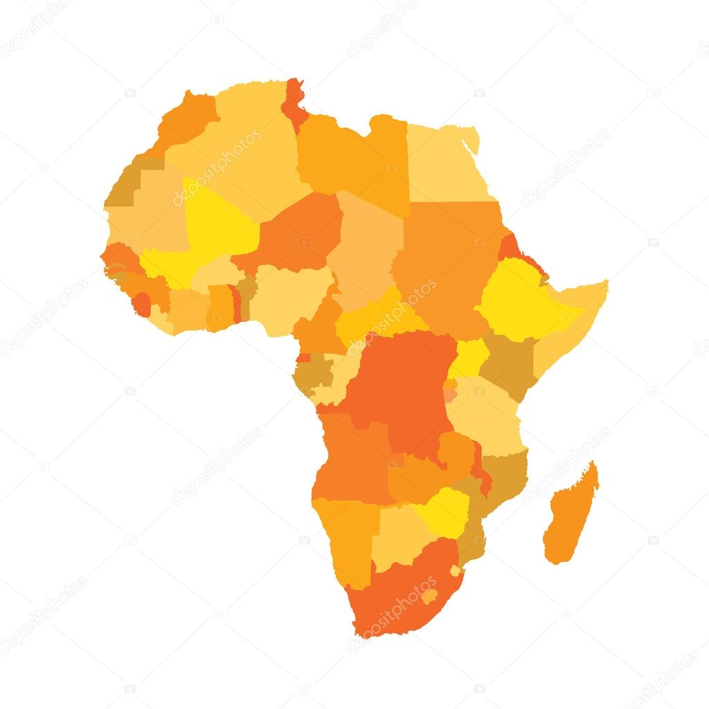 Africa. The Colored Map (orange and yellow) — Stock Vector