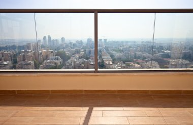 balcony in downtown of modern city