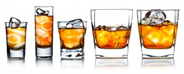 alcoholic drinks with natural ice isolated on white