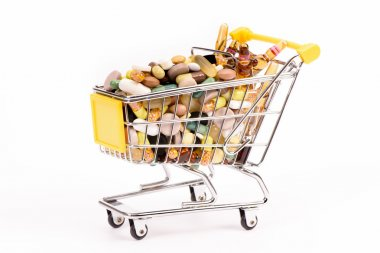 Shopping trolley with medicinal pills