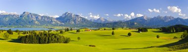 wide panorama landscape at alps mountains in Bavaria