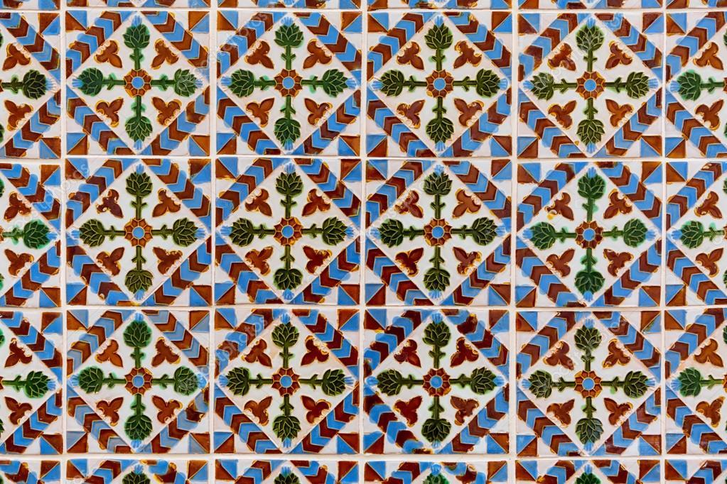 Sehr Alte Azulejos Hand Bemalte Kacheln Aus Lissabon Stockfoto - Fliesen bemalen farbe