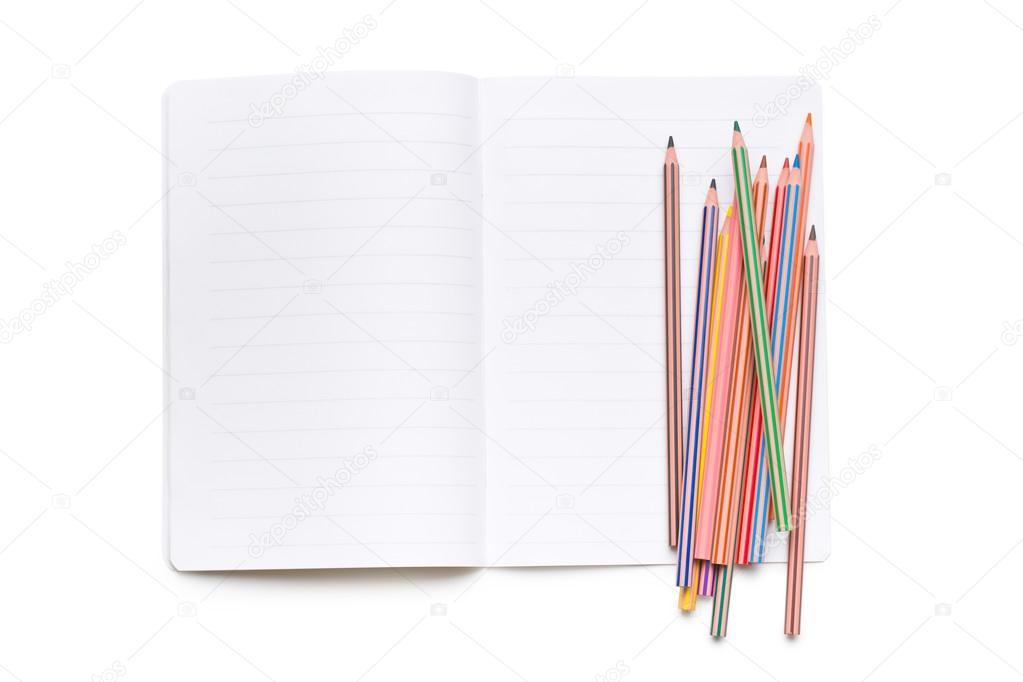 lápices de colores y libro abierto — Foto de stock © jirkaejc #81887060