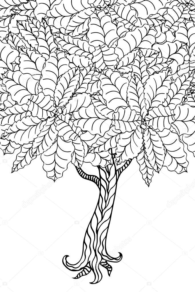 árbol con hojas — Archivo Imágenes Vectoriales © frescomovie #104558844