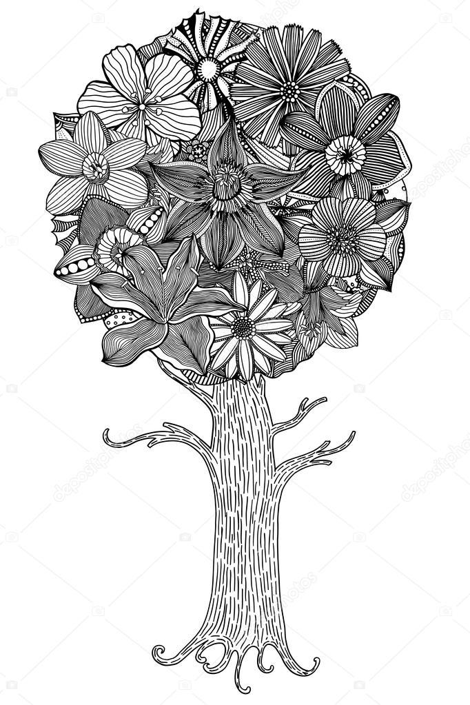 árbol con hojas — Vector de stock © frescomovie #105292342