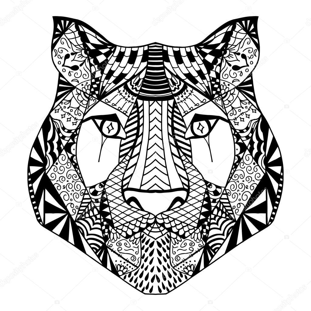 tijger hoofd schets stockvector 169 frescomovie 108040422