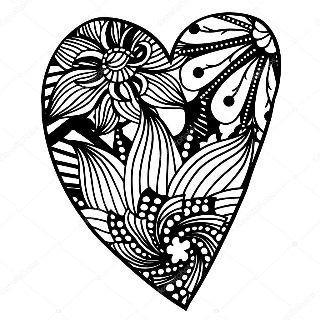 Vector Heart Shaped Pattern For Coloring Book Ethnic Retro Design In Zentangle Style With Floral ElementsBlack Line Art On White Background