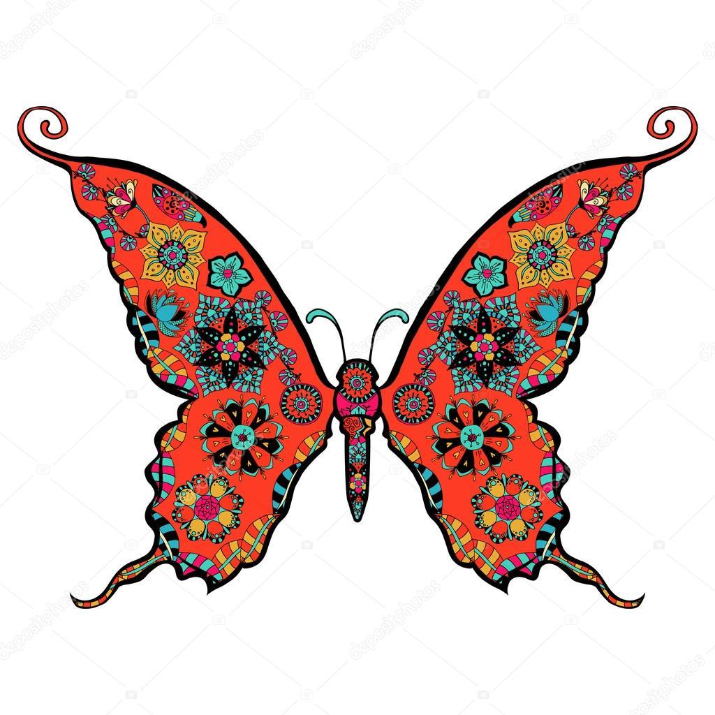 hermosa mariposa para colorear — Vector de stock © frescomovie ...