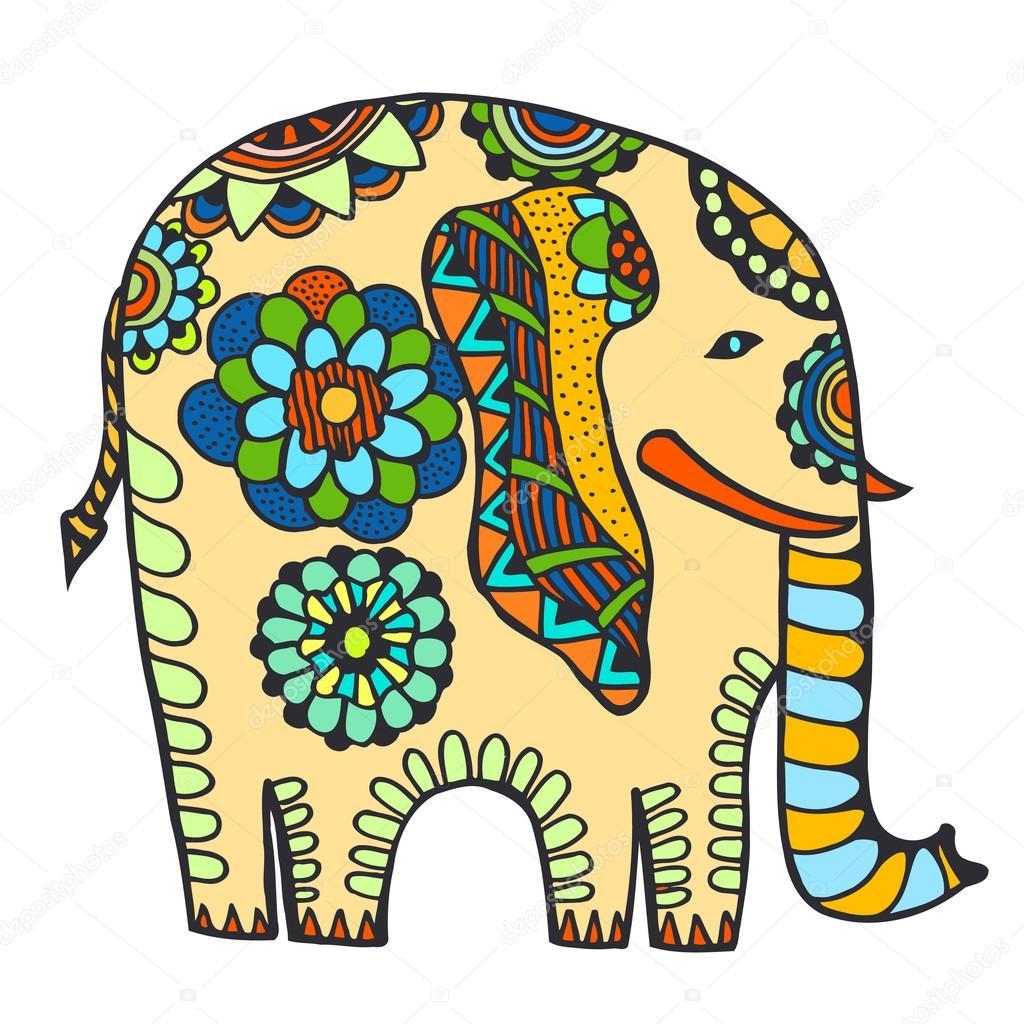 dekorierter indischer elefant  vektorgrafik lizenzfreie