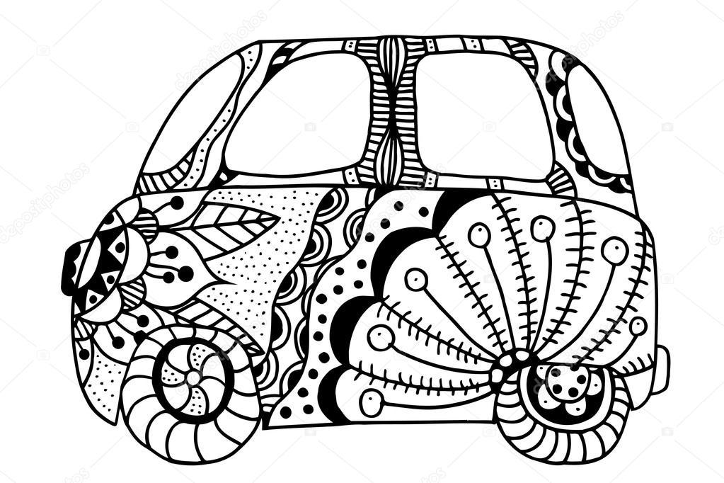 Una mini van de coches de época — Archivo Imágenes Vectoriales ...