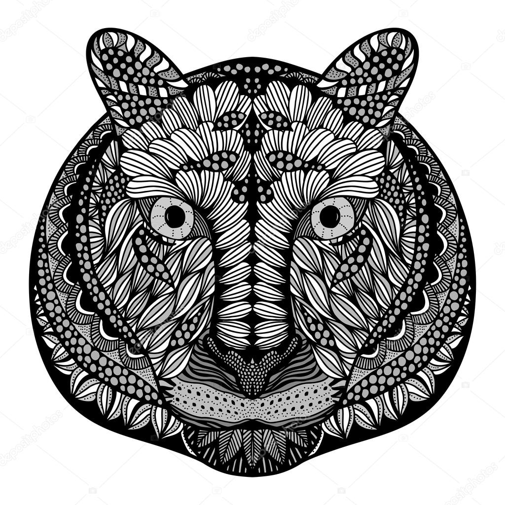 Tiger Head Adult Antistress Coloring Page Black White Hand Drawn Doodle Animal Ethnic Patterned Vector African Indian Totem Tribal Zentangle Design