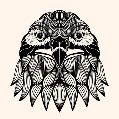 Hand Drawn head of eagle.