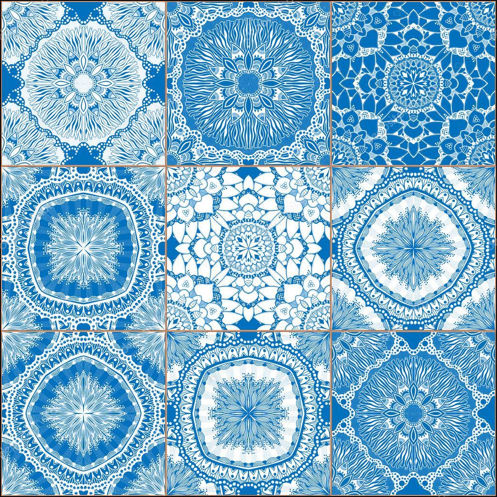 Set di piastrelle di ceramica blu classiche vettoriali - Piastrelle di ceramica ...