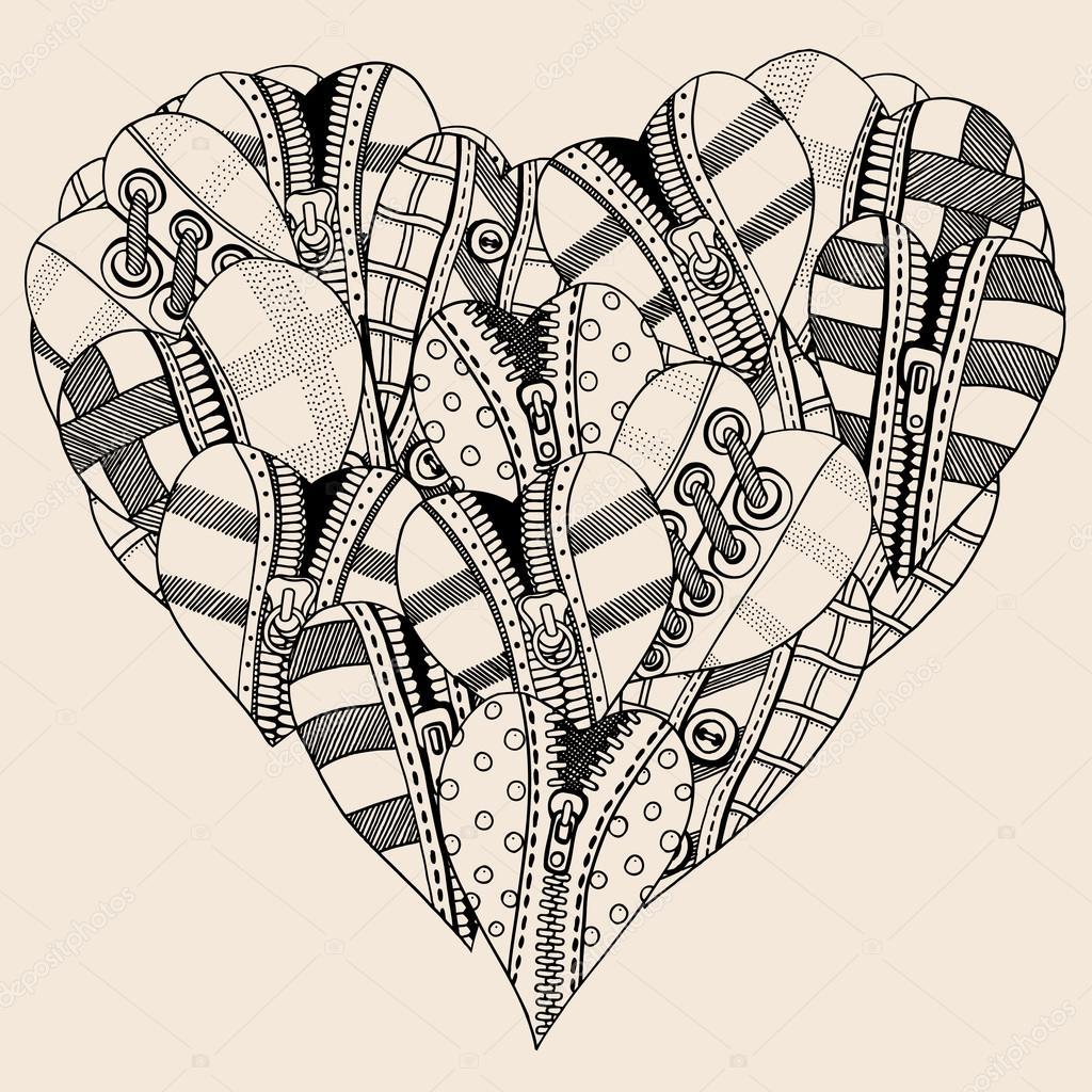 Küçük Elle çizilmiş Kalp Kalp Stok Vektör Frescomovie 119145074