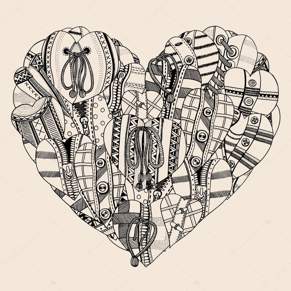 Küçük Elle çizilmiş Kalp Kalp Stok Vektör Frescomovie 119145404