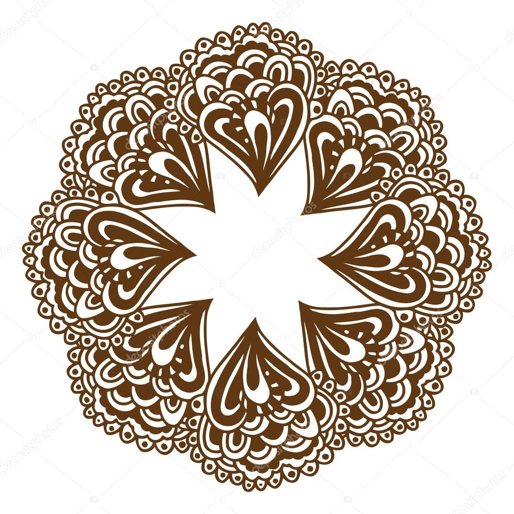 b49df42ba Circular floral ornament Mehndi Henna Tattoo Mandala, Yantra brown. Vintage  vector banner frame card for text, invitations for wedding, birthday  celebration ...