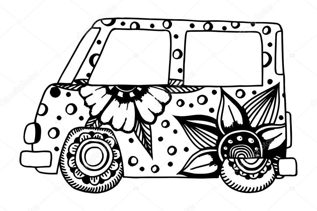 Coche vintage hippie una mini van — Archivo Imágenes Vectoriales ...