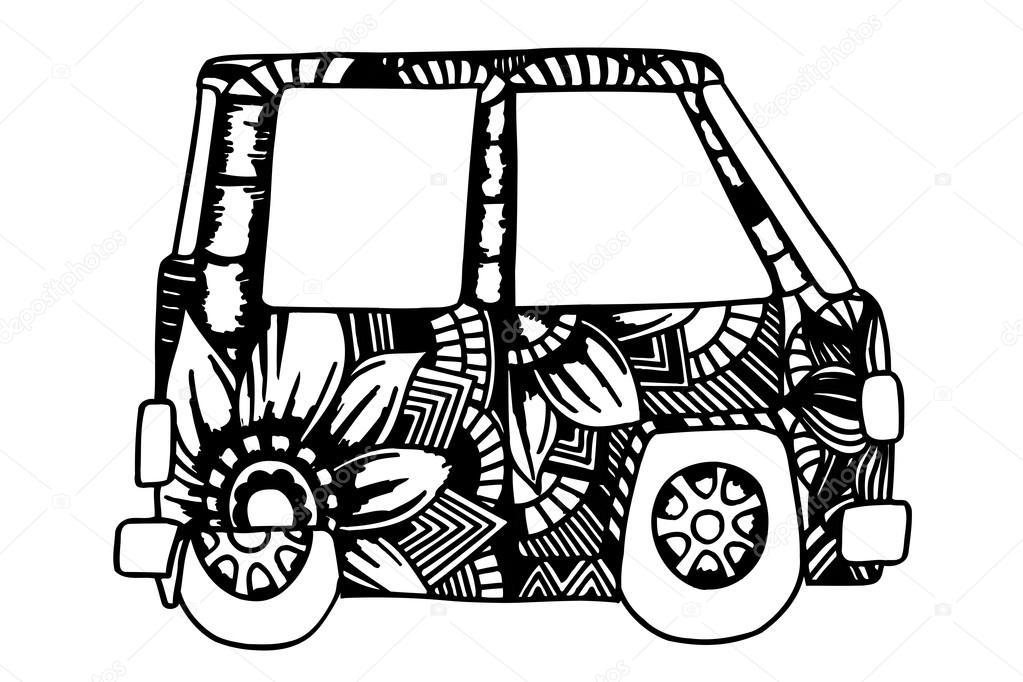 Coche vintage hippie una mini van — Vector de stock © frescomovie ...