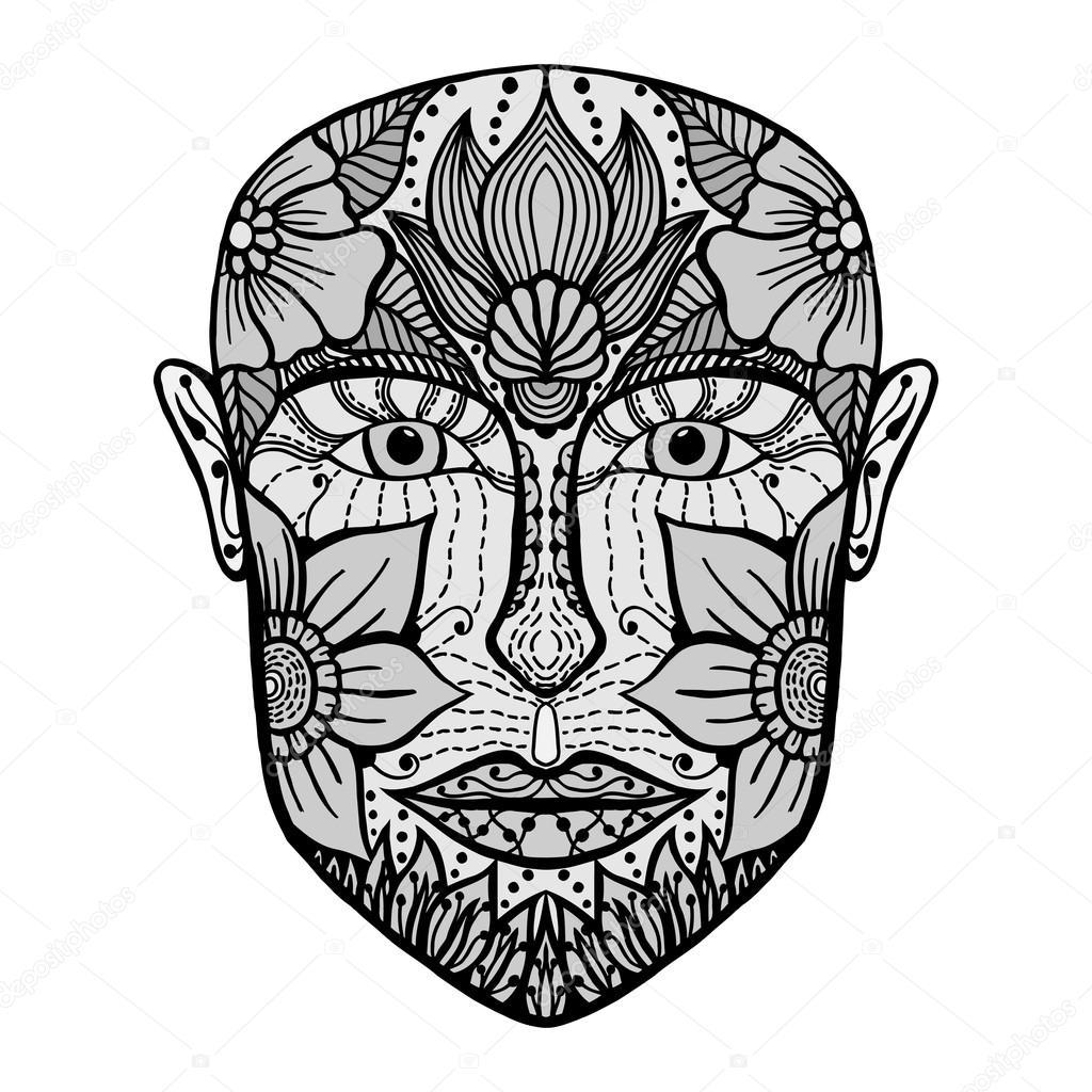 Gesicht des Mannes von Blumen. Malvorlagen Buch für Erwachsene ...