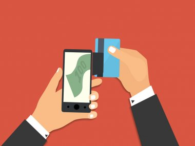 Smartphone with processing of mobile payments from credit card.