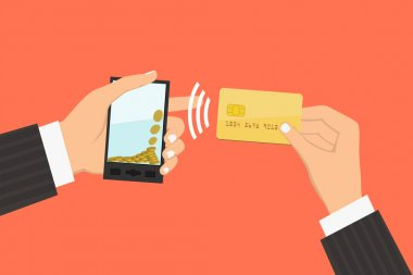 Flat design style illustration. Smartphone with processing of mobile payments from credit card. Communication technology concept. Isolated on red background clip art vector