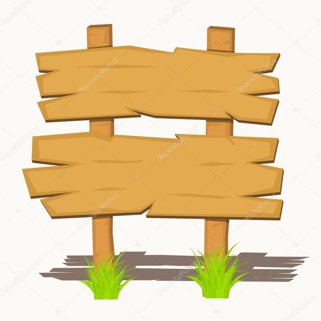 Letreros de madera en un c sped ilustraci n vectorial - Letreros en madera ...