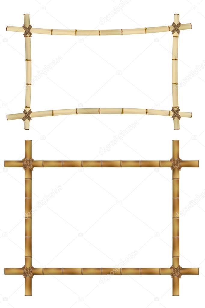 Conjunto de marco de madera de palos de bambú viejo. Ilustración de ...