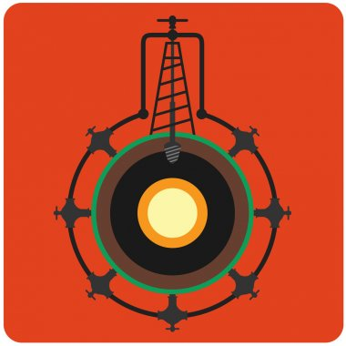 Oil mining site with drilling tower on a Earth's. Flat design st