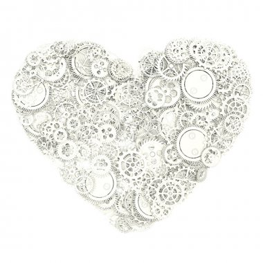 Heart made from gears. 3d illustration stock vector