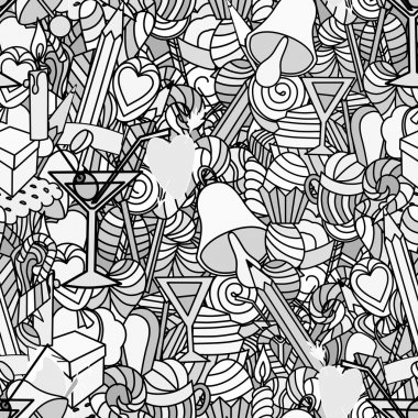 Background, doodle seamless pattern. Love and sweets.