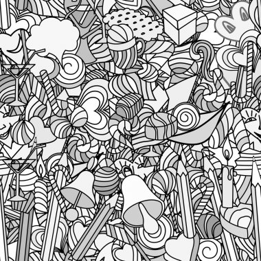 Cute doodle seamless pattern. Love and sweets.