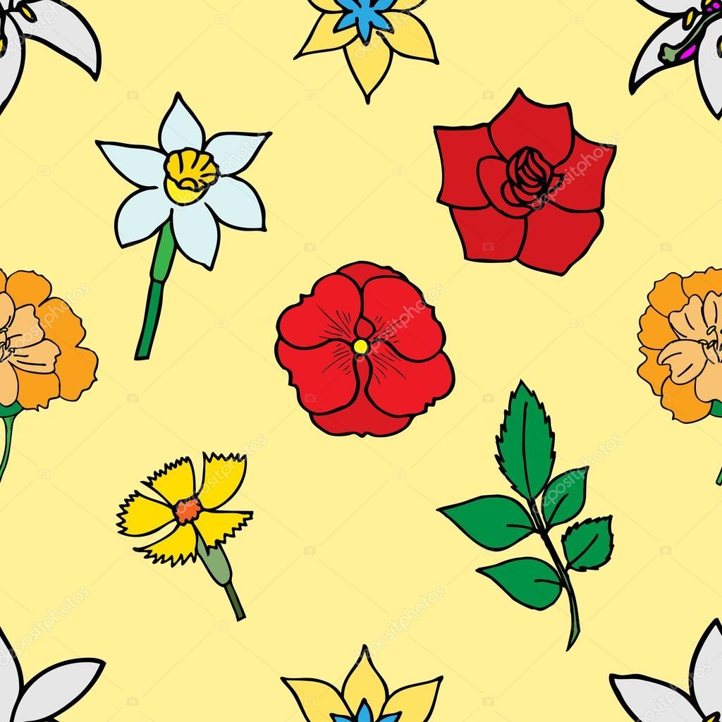 Schönen Sommer von vielen Blumen, nahtlose Muster verziert. VEC ...