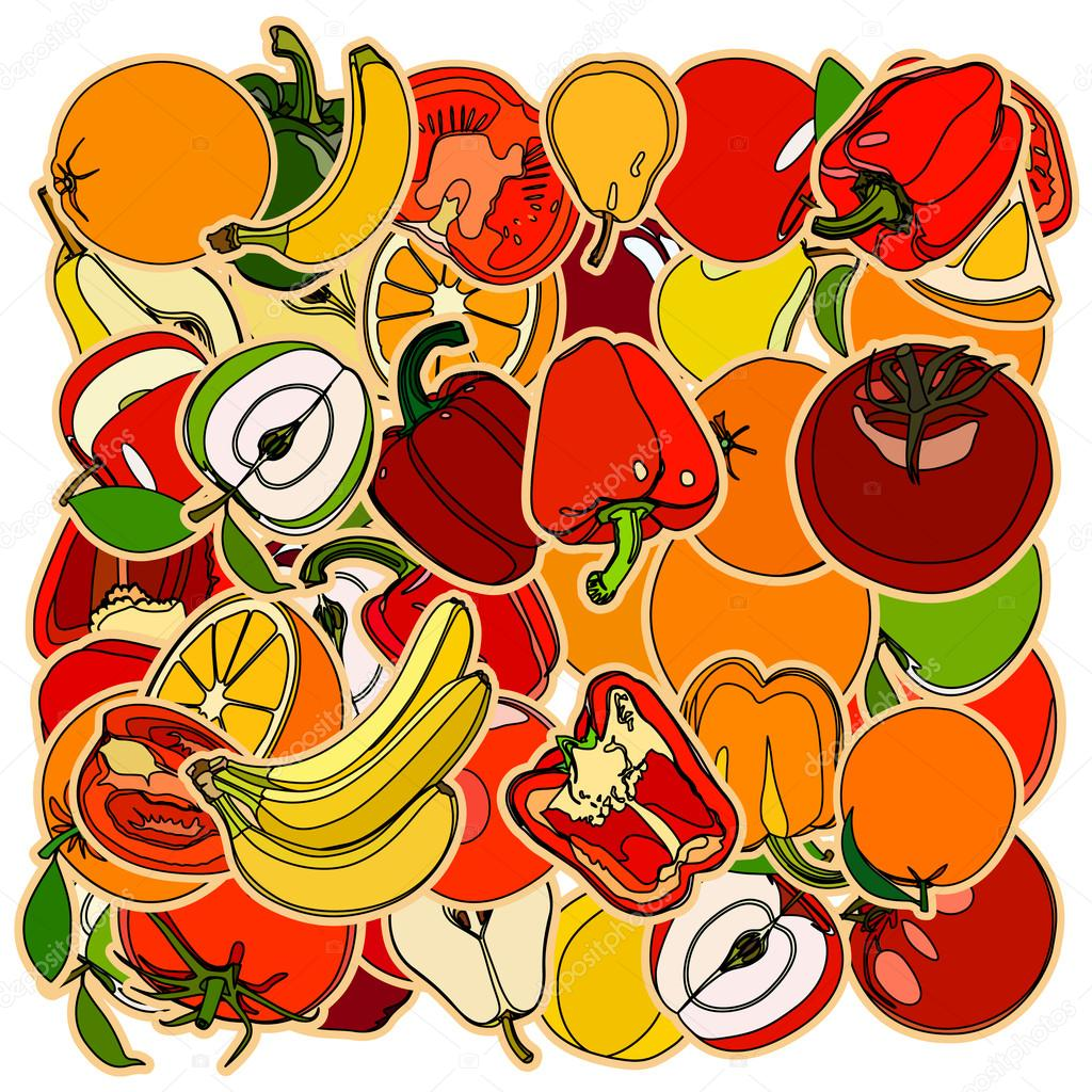 set of fruits and vegetation doodle cartoon drawing vector il