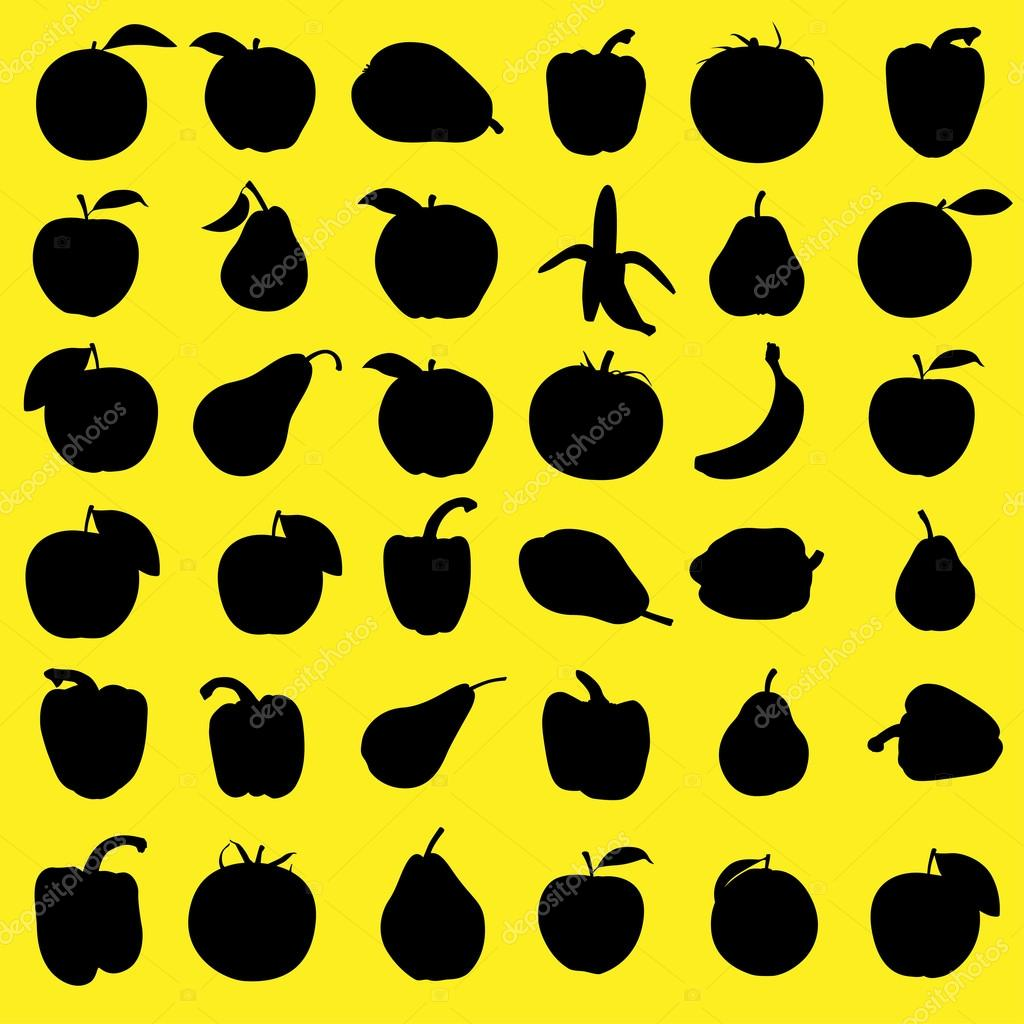 Set silhouettes of fruits and vegetables