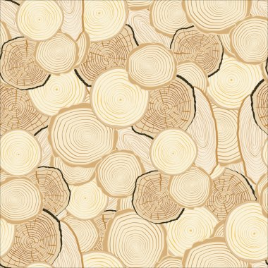 Tree rings saw cut tree trunk background. Seamless wallpaper. Ve
