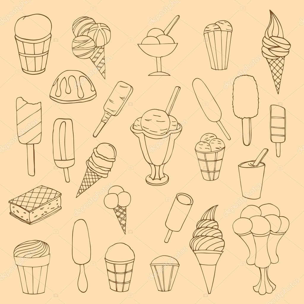 Collection of cute vector hand drawn cartoon ice cream. Cones an