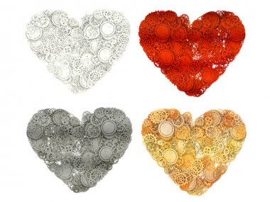Set of Heart made from gears. 3d illustration stock vector