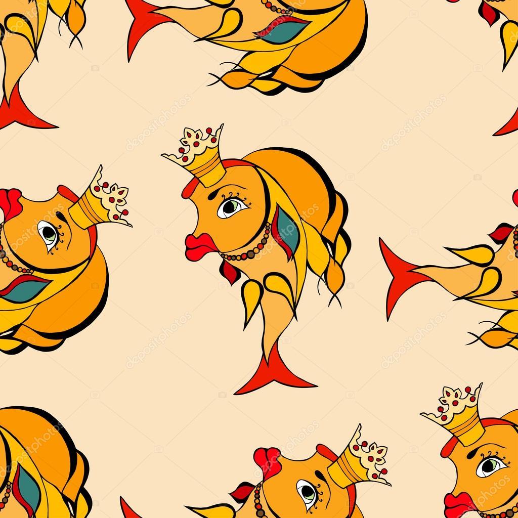 Золотая рыбка с короной — Векторное изображение ...