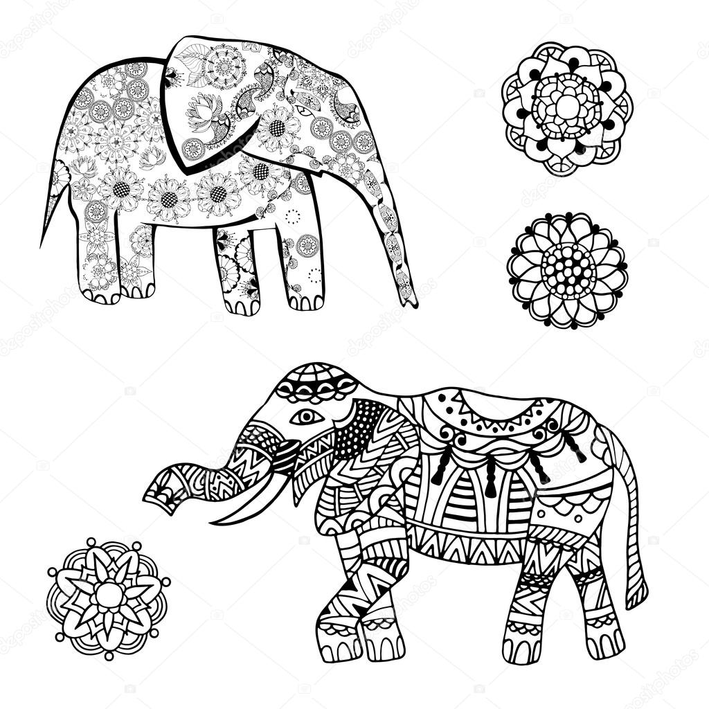 vector tekening van een olifant met etnische patronen van india op de achtergrond grange. Black Bedroom Furniture Sets. Home Design Ideas