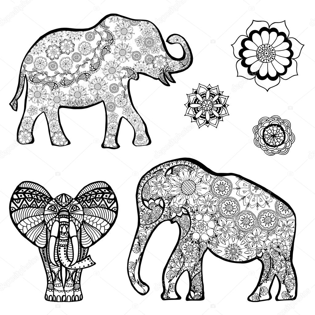 vecteur dessin d 39 un l phant avec des motifs ethniques de l 39 inde sur le fond de la grange. Black Bedroom Furniture Sets. Home Design Ideas