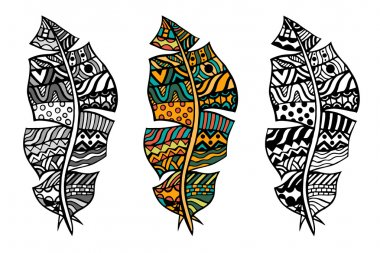 Zentangle stylized tribal color and monochrome feathers for coloring page. Adult anti-stress art therapy. clip art vector