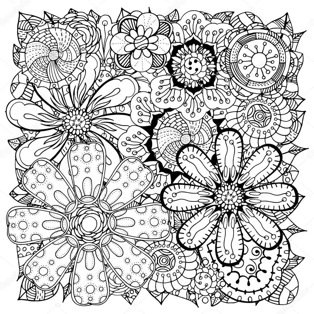 Doodle de flores y hojas — Vector de stock © frescomovie #88986172