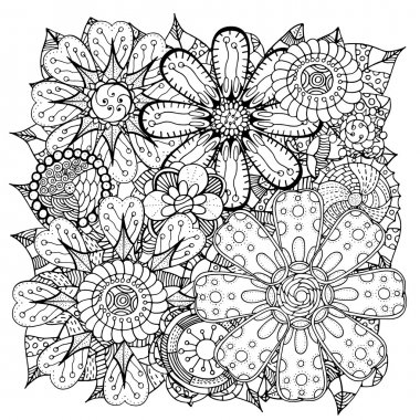 doodle flowers and leafs