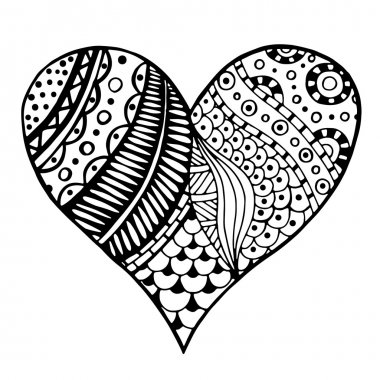 hearts in zentangle style