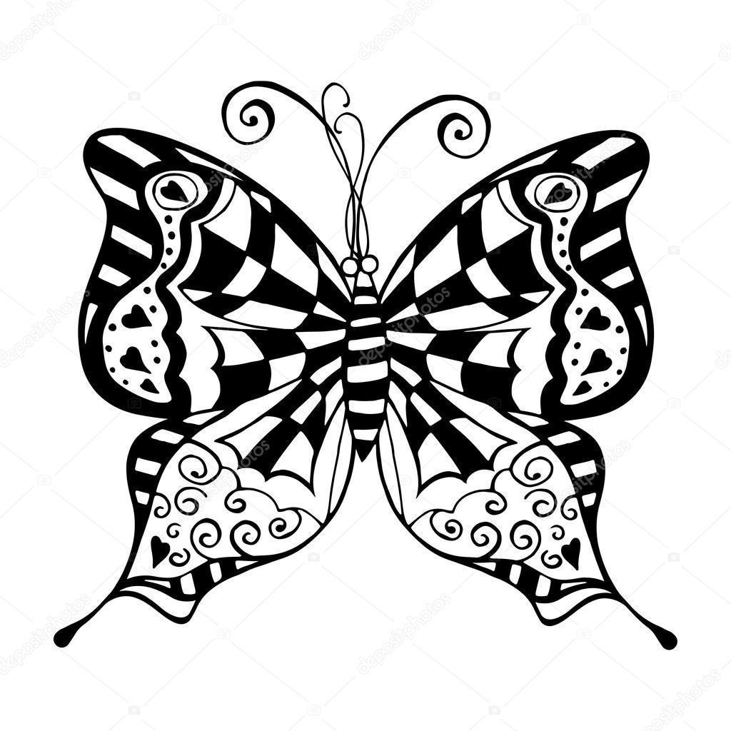 schmetterling schwarz weiß — Stockvektor © frescomovie #96342806