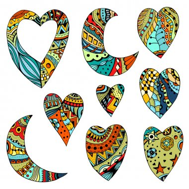 Set Hand drawn colored hearts and crescent
