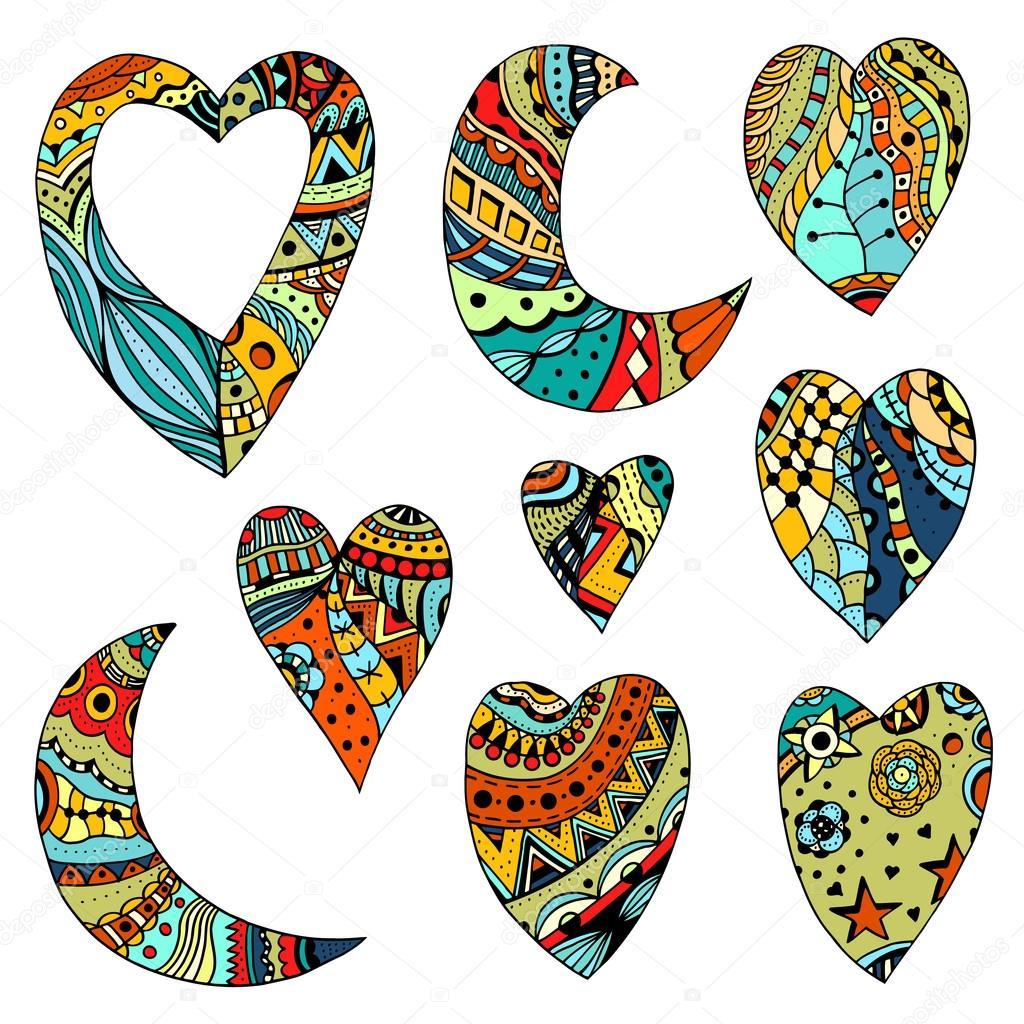 Renkli Kalpler Ve Hilal Set El çekilmiş Stok Vektör Frescomovie