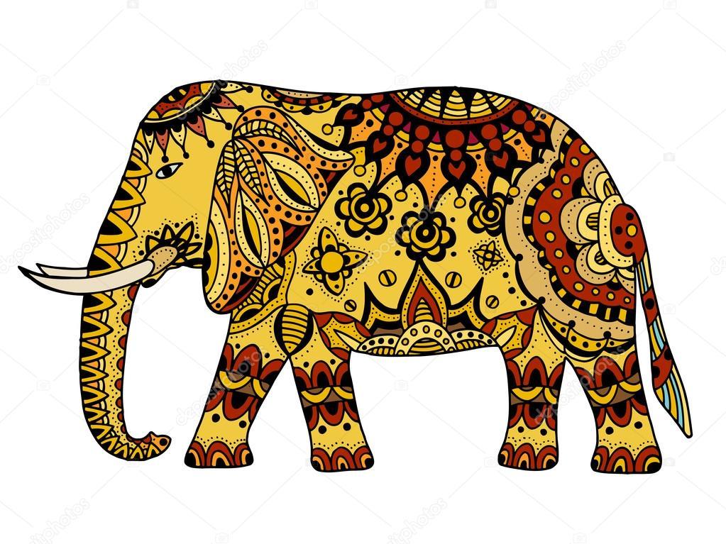Elefante Decorado Decoración Elefante Indio Vector De Stock